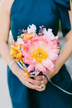 Pink Peony, Orange Orchid, Ombre Rose Bridesmaid Bouquets   The Gilded Ivy   B Hull Photography https://www.theknot.com/marketplace/b-hull-photography-yonkers-ny-549319