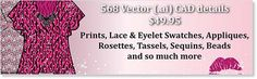Vector Fabric Swatches & Fashion Embellishments 568 Illustrator Fashion CAD details & fabric swatches - Textile Prints, Lace & eyelet swatches, appliqués, rosettes, tassels, sequins, beads, and so much more for only $49.95 #fashiondesign #fashionCAD