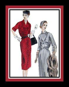 Vintage 1951 Tailored Day Dress Vogue by FarfallaDesignStudio, $21.00