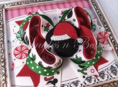 Mickey Mouse Christmas Stacked Boutique Hair Bow by BanglesnBows, $9.50