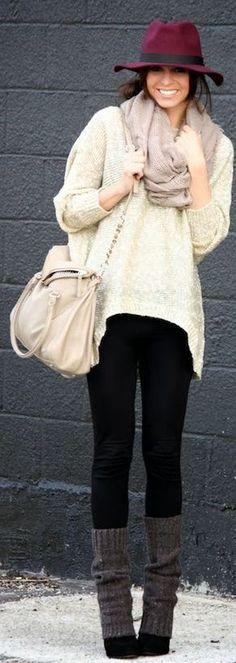 Gorgeous Chicnova Oversize Sequin Sweater handbag burgundy hat black pants gray socks