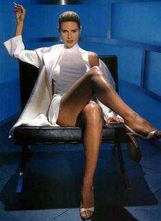 Heidi Klum, as Sharon Stone in Basic Instinct
