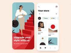 Сlothing store - Mobile app by Kate for Arounda on Dribbble Best Ui Design, Web Design, Motion App, Mobile App Design, Mobile Ui, Instagram Website, App Design Inspiration, Most Popular Books, World Photo