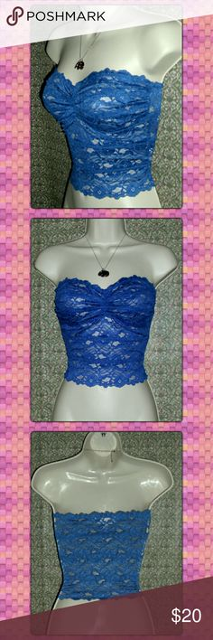 "SALE!!⚡⚡JUST IN!! ROYAL BLUE BANDEAU⚡⚡ Beautiful stretchy lace royal blue bandeaus!!  Small measures 24"" waist plus 4-5"" of stretch Medium measures 26"" waist plus 4-5"" of stretch  Large measures 28"" waist plus 4-5"" of stretch Cups stretch to fit.  All are 12"" long. 85% nylon and 15% spandex Intimates & Sleepwear Bandeaus"