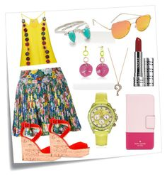 """""""Pleated Floral Skirt..**"""" by yagna ❤ liked on Polyvore featuring Post-It, Kenzo, Mary Katrantzou, Giuseppe Zanotti, Kate Spade, Marc Jacobs, Toy Watch, Quay, Samantha Wills and Clinique"""