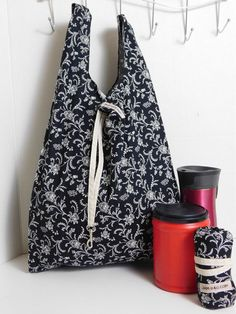 5ddefc94cba Eco Friendly Shopping Bag   Black and White Abstruct print with Hook and  Belt closure