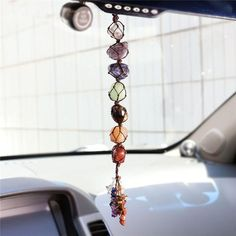 Top Plaza 7 Chakra Gemstones Reiki Healing Crystals Hanging Ornament Home Indoor Decoration for Good Luck,Yoga Meditation,Protection - Tumbled Palm Stones by Top Plaza Crystal Wall, Clear Quartz Crystal, Crystal Healing, Healing Gemstones, Natural Gemstones, Chakra Crystals, Chakra Stones, Chakra Beads, Feng Shui Ornaments