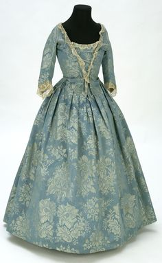 Gown: ca. 18th century, silk, embroidered lace. Search for 11428.