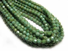 4mm-Opaque-Turquoise-Picasso-Czech-Glass-Firepolished-Round-Beads-50-3428