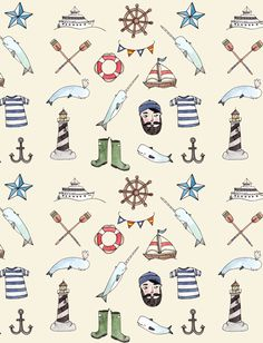 Nautical Pattern Art Print by Brooke Weeber Surface Pattern, Pattern Art, Pattern Design, Pattern Images, Textures Patterns, Color Patterns, Kids Patterns, Kids Prints, Art Prints