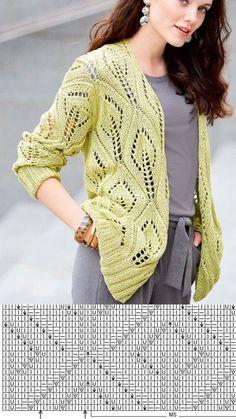 Lace Knitting Patterns, Sweater Knitting Patterns, Knitting Stitches, Knitting Designs, Summer Knitting, Jacket Pattern, Knit Fashion, Pulls, Knit Crochet