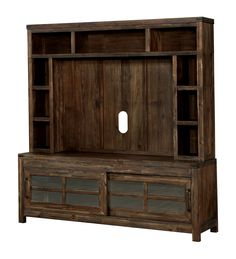 Furniture of America Sun & Pine Motley Country 72 Sliding Cabinet Doors TV Console With Hutch Oak Tv Stand Furniture, Shelf Furniture, Brown Furniture, Wooden Furniture, Sliding Cabinet Doors, Wood Entertainment Center, Flat Panel Tv, Wood Accents, Tv Cabinets