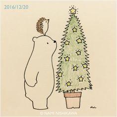 2,084 個讚,12 則留言 - Instagram 上的 なみはりねずみ(@namiharinezumi):「 1067 お星様の花が咲いたね! The star tree is blossoming! #illustration #hedgehog #polarbear #イラスト #ハリネズミ… 」