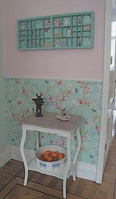 Pip behang groen met roze combi