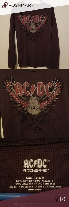 AC/DC Waffle Long Sleeve Shirt Form fitting size medium thermal shirt. Good condition. AC/DC Tops Tees - Long Sleeve