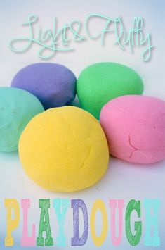 Light and fluffy home made play dough recipe! Like molding marshmallowy clouds in your hands!