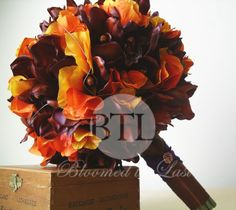 13pc Fall  Wedding Set of  Rust Orchids, Orange Hydrangea, Bronze Bouquets, Boutonnieres, Corsages. via Etsy. $740.00