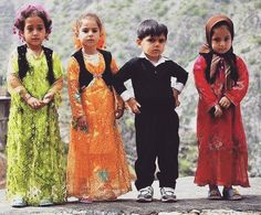 Kurdish Children in beautiful traditional Clothes.