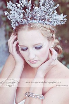 Winter Fairy/Snow Queen Crown--Faeryspell Creations-Custom Crown-Tiara-Wedding-Festival-Photo Prop. $65.00, via Etsy.