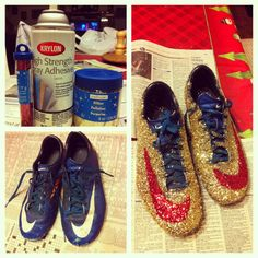 Sparkly glitter cleats.... I will so do this to my softball cleats!!!! :)