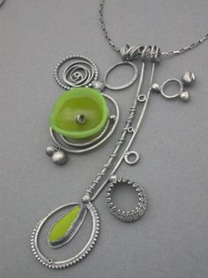 acid avocado green collage necklace art jewelry modern wearable art metalsmith found objects quirky funky jaime jo fisher