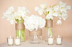 Simple white flowers, twine wrapped vases and tea lights.maybe I can do this with pink flowers? Diy Wedding, Rustic Wedding, Wedding Flowers, Wedding Day, Wedding Photos, Wedding Dress, Simple Centerpieces, Wedding Centerpieces, Wedding Decorations