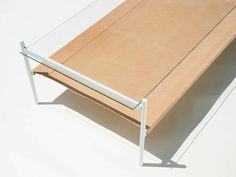 White Frame / Clear Glass Top Tier / Natural Leather Bottom Tier Our new Duotone furniture series is based on a modular hardware system that pairs sturdy. Brass Coffee Table, Coffee Table Design, Modern Coffee Tables, Home Furniture, Furniture Design, Natural Leather, Minimalist Design, Clear Glass, Vintage