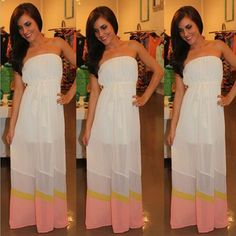 White Patchwork Bandeau Backless Floor Length Chiffon Dress