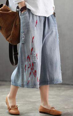 cd38a20840 Chic cotton plus size Spring Loose Vintage Women Elastic Waist Hole Jeans