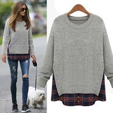 2015 Hot Sale Casual Women False Two Piece Blouse Tops Long Sleeve Knitwear Round Collar Pullover Sweater Best Seller follow this link http://shopingayo.space