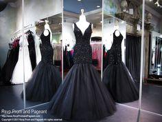 Black Low Back Mermaid Prom Dress