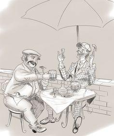 Фагот с Бегемотом зашли в ресторан дома Грибоедова выпить по кружке холодного пива   © Морбид