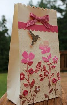 Ink: Blushing Bride, Pretty in Pink, Primrose Petals, Chocolate Chip and Soft Suede - AnnMarie Bryant Paper Bag Crafts, Paper Gift Bags, Paper Gifts, Craft Bags, Craft Gifts, Diy Gifts, Handmade Gifts, Creative Gift Wrapping, Creative Gifts