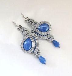 Silver grey earrings soutache earrings long earrings by sutaszula