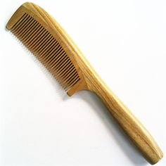 Natural Green Sandalwood Handmade Fine Tooth Round handle Wood Combs no static,Beard Toothed Lice Comb Hair Care