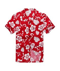 Men Hawaiian Aloha Shirt in Red Hibiscus