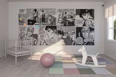 Modern-Nursery-Room-Design-Ideas-with-Bold-Comic-Strip-Wall-Mural-in-Black-and-White.jpg (600×400)