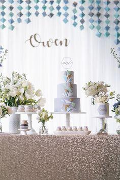 Cake table from a Geometric Fox Birthday Party on Kara's Party Ideas   KarasPartyIdeas.com (9)