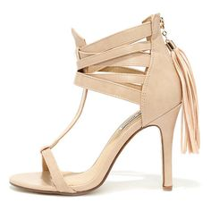 Watch Me Whip Nude High Heel Sandals ($35) ❤ liked on Polyvore featuring shoes, sandals, beige, caged shoes, t-bar sandals, nude sandals, t strap shoes and zipper sandals