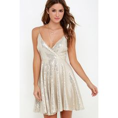 Wish Upon a Starlet Gold Sequin Dress ($77) ❤ liked on Polyvore featuring dresses, gold, beige cocktail dress, form fitting cocktail dresses, skater dress, form fitting dresses and sparkly cocktail dresses