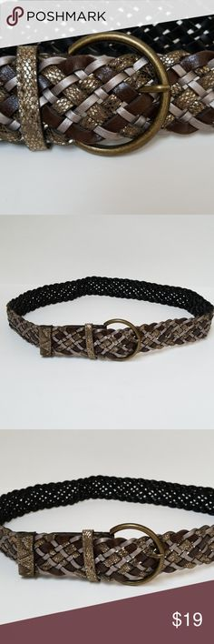 "Belt, basket weave Plus Size XL Belt, basket weave. Size XL, 39.5"" when buckled as seen in the picture, 2.5"" brass buckle, colors brown, silver, sparkle gold. Boutique/unknown Accessories Belts"