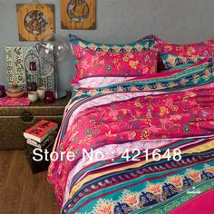 New Beautiful casa 100% Cotton 4pc Cover Set red turquoise comforter boho bedding set Queen/ King size 4pcs Colorful textile $199.98 - 207.98