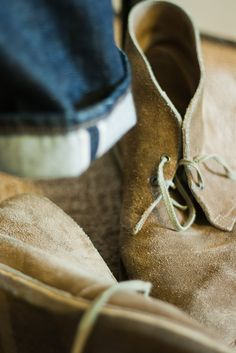 .Desert boots and Selvedge denim Style fashion men jeans