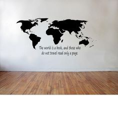 World Map with The world is a book those who do by TipitDesigns, $29.00