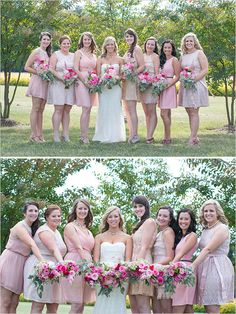bridesmaids in shades of pink dresses #bridesmaids #pinkdresses #weddingchicks http://www.weddingchicks.com/2014/03/28/pink-wedding/