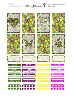 Printable WEEKLY sticker mix #1 -Digital File Instant Download - planner girl, Mambi, happy planner Classic, Spring, green, flower, yellow di LaGhinetta su Etsy
