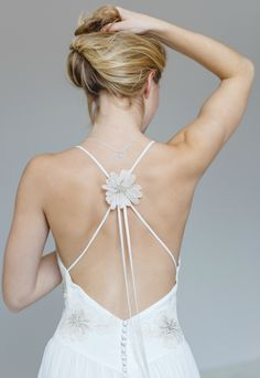 Phoebe design has the most fabulous low back.Hand made couture in silk crepe and silk chiffon Bohemian Style Wedding Dresses, Designer Wedding Dresses, Silk Crepe, Silk Chiffon, London Wedding, French Lace, Couture, Unique, Fashion