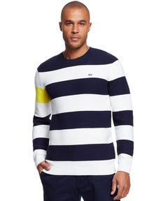 Whether its worn as a layer or by itself, this striped sweater from Lacoste is the perfect complement to your cold-weather wardrobe. Mens Fashion Sweaters, Men Sweater, Cool Winter, Guy Fashion, Polo T Shirts, Work Inspiration, S Man, My Guy, Winter 2017