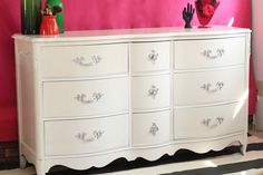 High Gloss White French Provincial Dresser & Tallboy - The Resplendent Crow