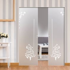 Eclisse Double Pocket Door Frame - Doors may seem more difficult to fix due to how they close at first. Rather than closing Glass Pocket Doors, Double Glass Doors, Sliding Glass Door, Frosted Glass Design, Frosted Glass Door, Sliding Door Design, Modern Sliding Doors, Pooja Room Door Design, Door Design Interior